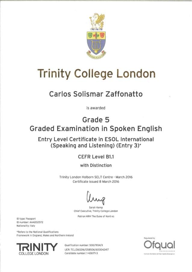 trinity certificato grade 5